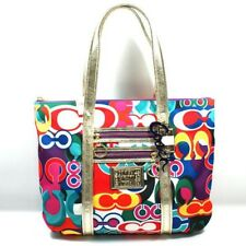 Coach Poppy Glam Tote Shopper Bag Purse Authentic Signature 13839 Multicolored