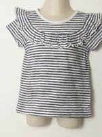 BABY GIRLS NEXT BLUE WHITE STRIPED FRILL SHORT SLEEVE T SHIRT AGE 18-24 MONTHS