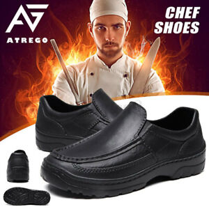 Mens Anti-slip Lightweight Casual Shoes Nursing Chef Safety Work Slip-On Loafers