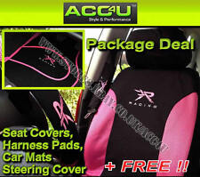 13 Pcs Pink Black Racing Car Seat Covers+Mats+Steering Wheel Cover Package Deal