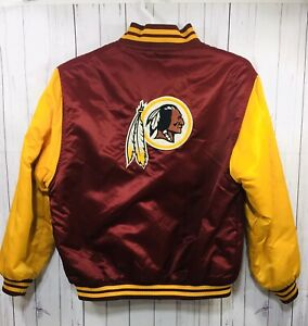 Vtg 90s Reebok Washington Redskins Satin Jacket Youth Kids 18/20 Quilted Nfl