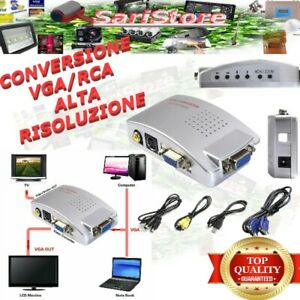 CONVERTITORE DA VGA A RCA , S-VIDEO  COMPUTER PC NOTEBOOK ADATTATORE DVR