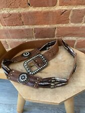 River Island Brown Leather Long Bead Diamante Big Buckle Belt 116cm Large