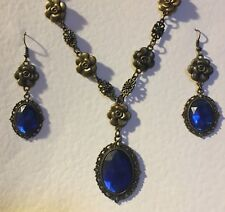 VICTORIAN STYLE DEEP BLUE DARK GOLD PLATED CAMELLIA FILIGREE NECKLACE SET DC