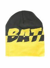 DC COMICS BATMAN YELLOW & GREY SPLIT LOGO ADULT WINTER BEANIE HAT CAP NWT!
