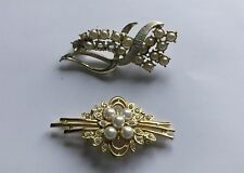 2 x Vintage Metal Costume Pin Brooches Bow-Style Faux Pearls Some Missing On One