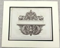 1859 Print Ornate Carved Wall Mirror Frame Cherub Scroll Antique Original