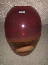 """Waterford Crystal 11"""" EVOLUTION Glass Red & Amber Swirl Hand Blown Vase 128197"""