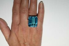 8.81 Ct Very Very Large Emerald Cut Swiss Blue Topaz Prong Set Engagement Ring