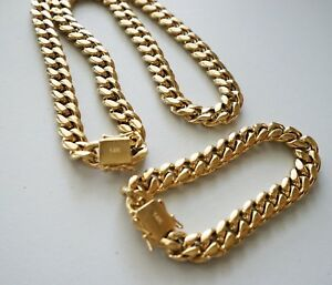 10 mm24inMen Cuban Miami Link Bracelet Chain Set 14k Gold Plated Stainless Steel
