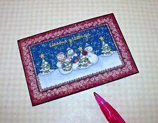 "Miniature ""Season's Greetings"" Christmas Snowmen Welcome Door Mat DOLLHOUSE 1:12"