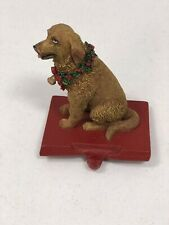 Dog Stocking Holder golden retriever wreath red metal base 4.5 inches wide