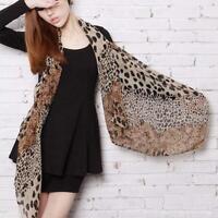 Womens Chiffon Large Scarf Long Neck Wrap Shawl Leopard Stole Scarves