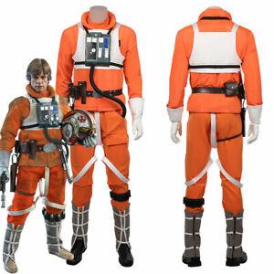Star Wars Luke Skywalker Pilot Cosplay Costume Jumpsuit Uniform Halloween Outfit