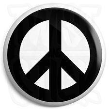 Peace Symbol - Black - 25mm Button Badge - CND Logo - Hippie Love Sign