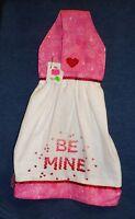 **NEW** Handmade Valentine's Day Be Mine Hearts Hanging Kitchen Hand Towel #1521