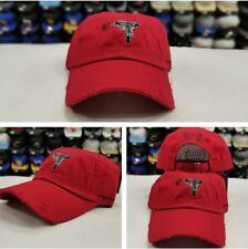 Distressed RED Field Grade ROSE GUN Dad Strapback Snapback Hat Cap