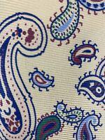 Vintage Polo By Ralph Lauren Mens Silk Necktie Cream Pink Blue Paisley Tie EUC