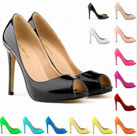 Womens Sexy High Heel Peep Toe Stilettos Pump Patent Leather Court Formal Shoes