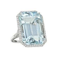 Cocktail Ring Siml 30ct Aquamarine Blue Emerald Cut CZ 925 Sterling Silver Gift
