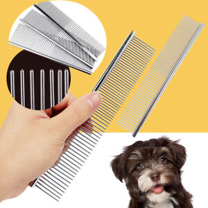 Pet Puppy Dog Cat Metal Double Row Teeth Brush Grooming Hair Comb Fur Rake Flea