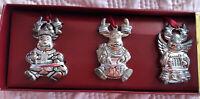 Gorham Sterling Silver Plate Set of 3 Ornaments Reindeer