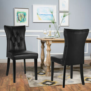 2/4x Dining Chairs PU Leather Padded Seat Wooden Legs Cafe Kitchen Room Chair UK
