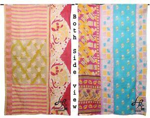 Cotton Vintage Quilt Saree Blanket Twin Size Bedcover Kantha Gudari Hippie Ralli