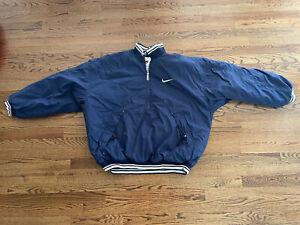 Vintage Nike Blue Pullover 1/2 Zip Coat Jacket Big Swoosh Pocket Sz XL As Is