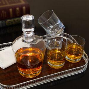 5pc Mikasa Donovan Decanter Set European Lead-Free Crystal Drink Serving Glasses