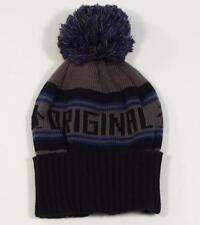 Penguin Logo Cuff Style Ski Beanie Skull Cap Black & Gray Adult One Size NWT