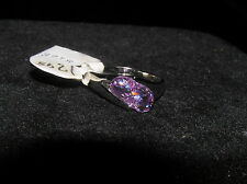 Slanted Purple Lavender Faceted Rhinestone Crystal Silvertone MODERNIST Ring