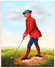 Antique Victorian Oil Painting Golf Man Red Coat English Golfer, signed T. Kelly