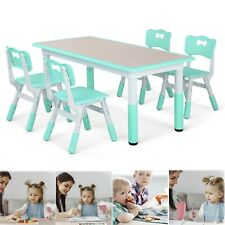 Kids 5 Piece Table Chair Set Pine Height Adjustable Children Play Room Furniture