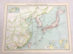 1909 Antique Map of The Far East Asia Industrial Communications George Philip
