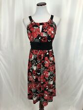 NWT New Directions Red Black Floral Dress Cut Out Tie Around Waist Medium
