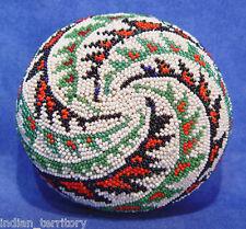 "Paiute Beaded Basket - Green/white/black/orange c.1930-50 2 1/8"" x 4 1/8"""