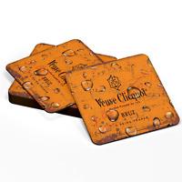 Wood Coasters VEUVE CLICQUOT Champagne Retro Vintage Style Wooden Square Coaster