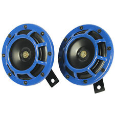 12V BLUE SUPER LOUD TWO ELECTRIC BLAST TONE HORN FOR CAR MOTORCYCLE CHOPPER