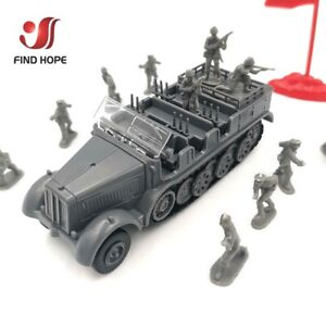 1/72 4D Germany SD.KFZ.7 Assemble Model Toy Car Armored+10 Soldier Model