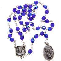 Blue Glass St Saint Michael Padre Pio Guardian Angel Rosary Beads Chaplet 6MM