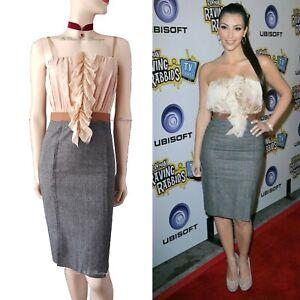 DOLCE & GABBANA D&G vintage grey tweed corset Kardashian DRESS size UK 8 US 4 40