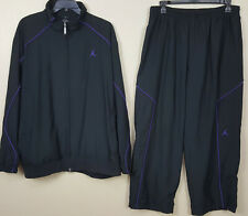 NIKE AIR JORDAN BASKETBALL SUIT JACKET + PANTS BLACK PURPLE RARE (SIZE 3XL 2XL)