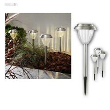 Solar Light 4er Pack Stainless Steel Lamp Path LED Warm White Plug