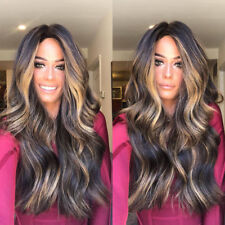 Women Ladies Mix Color Long Curly Wig Synthetic Wig High Density Full Lace Wigs