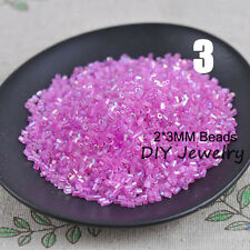 1000pcs 2*3mm 16g AB Colored Transparent Tube Czech Glass Seed Beads DIY Jewelry