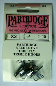 Partridge X3 Needle Eye Tube Fly Treble Hook, Size 4, 10 pk