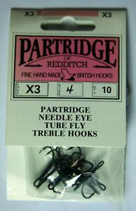 Partridge X3 Needle Eye Tube Fly Treble Hook, Size 4, 10 pk