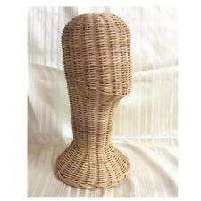 Vintage Wicker Mannequin Rattan Head Wig Stand Thai Antique Display Use Hat
