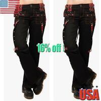 US Womens Gothic Steam Punk Leggings Halloween Casual Rock Skinny Pants Trousers
